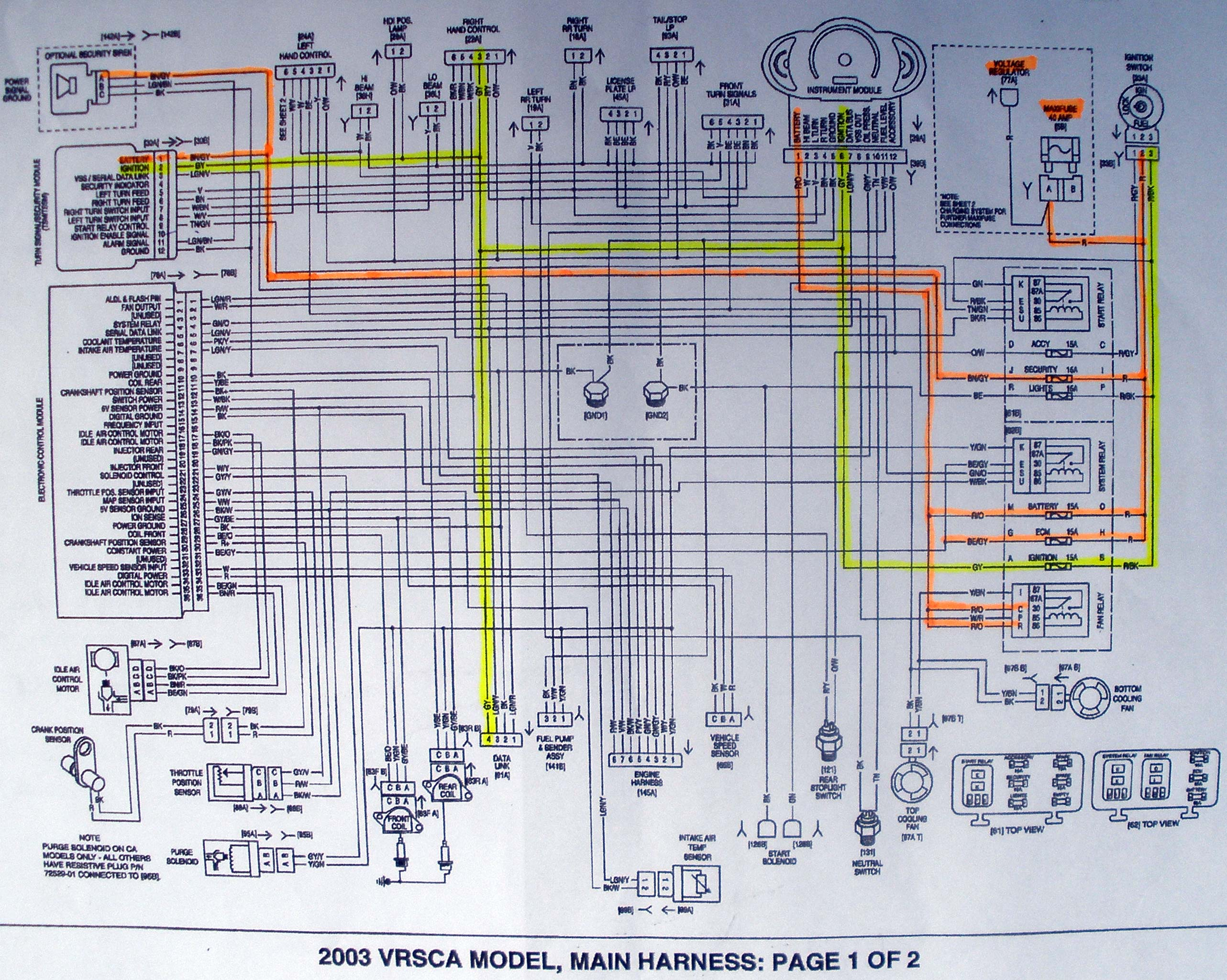 V Rod Wiring Diagram And Schematics 03 Harley Wire Center U2022 Rh Sischool Co Headlight 2003